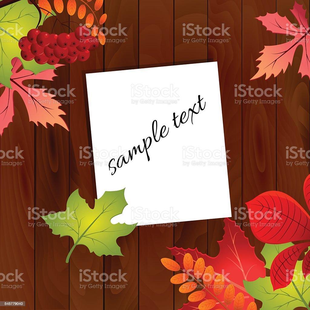 Autumn leaves on wood background. Vector illustration. stock vecteur libres de droits libre de droits