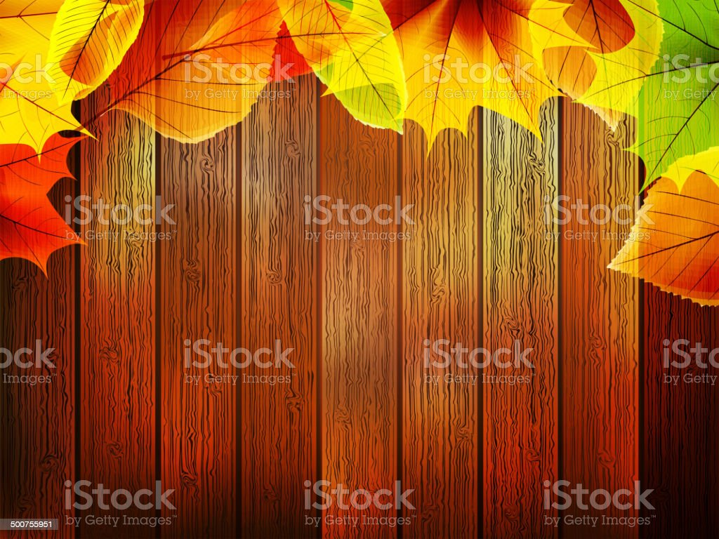 Autumn leaves over old wooden. plus EPS10 royalty-free stock vector art