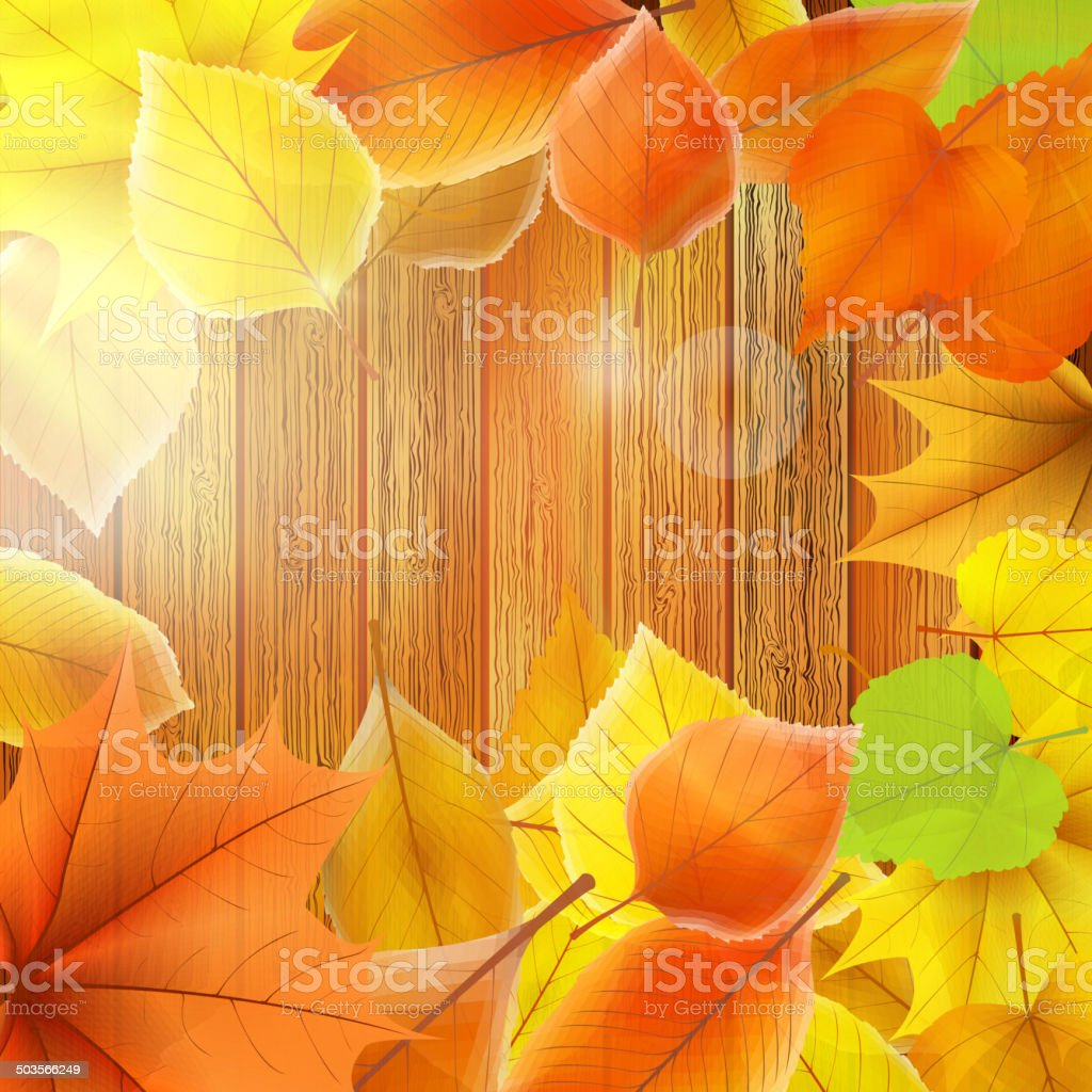 Autumn Leaves over wooden background. EPS10 royalty-free stock vector art