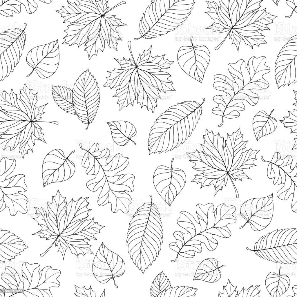 Autumn leaves pattern vector art illustration