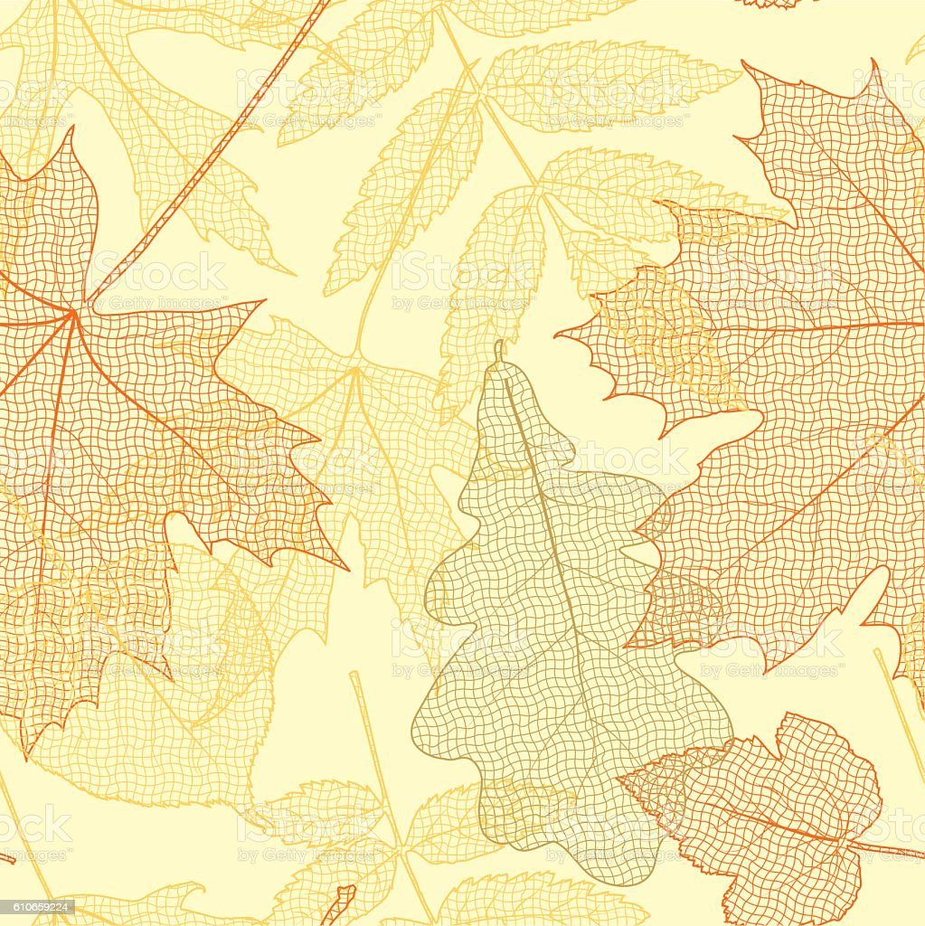 autumn leaves pattern vector art illustration