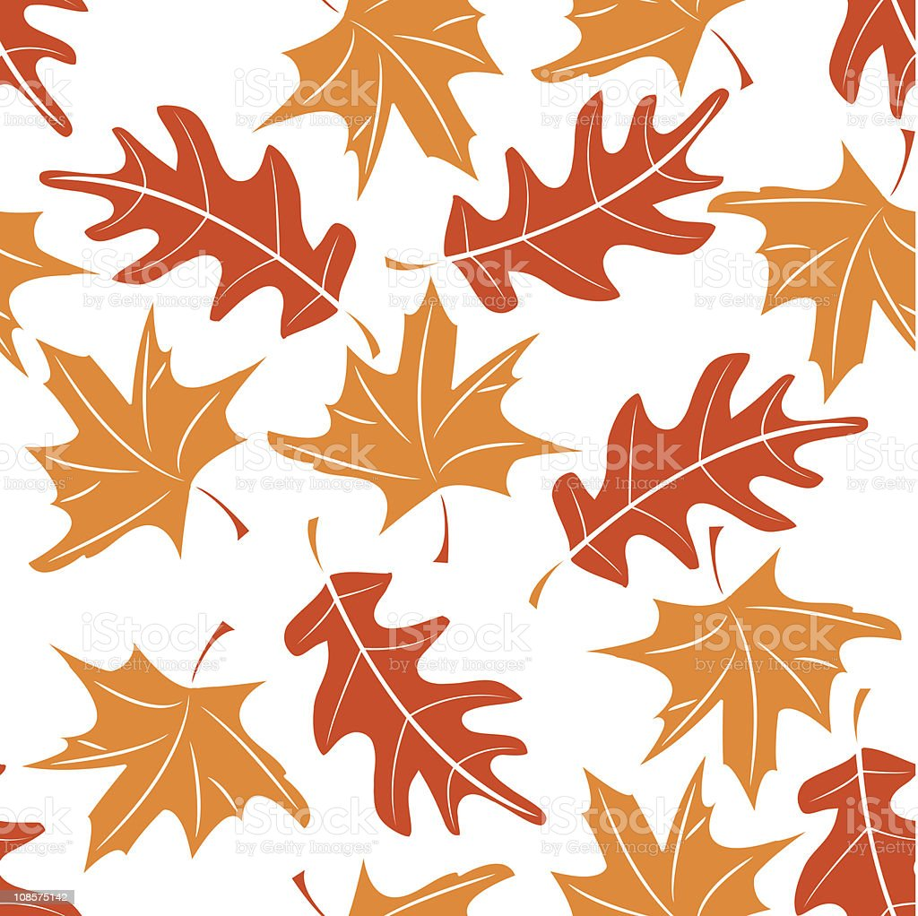 Autumn leaves pattern with orange and red leaves royalty-free stock vector art