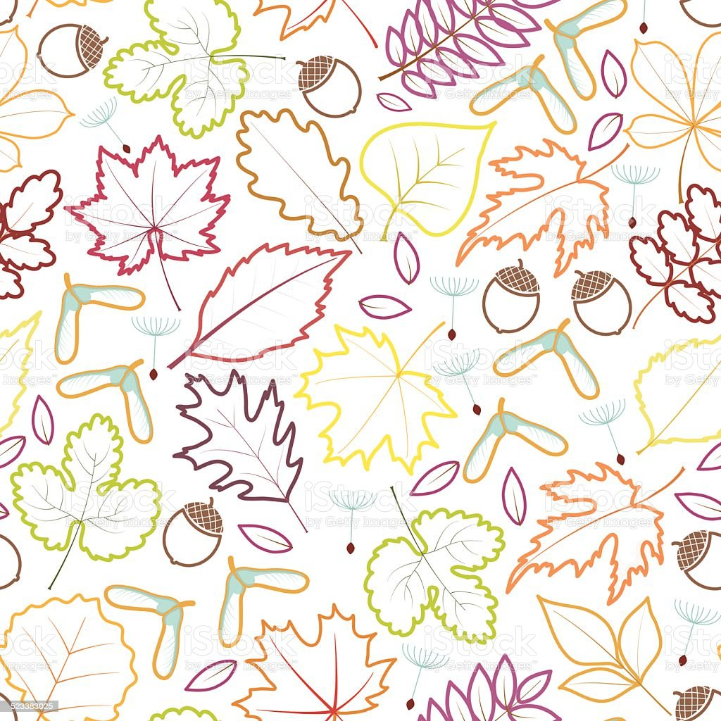 autumn leaves seamles background vector art illustration