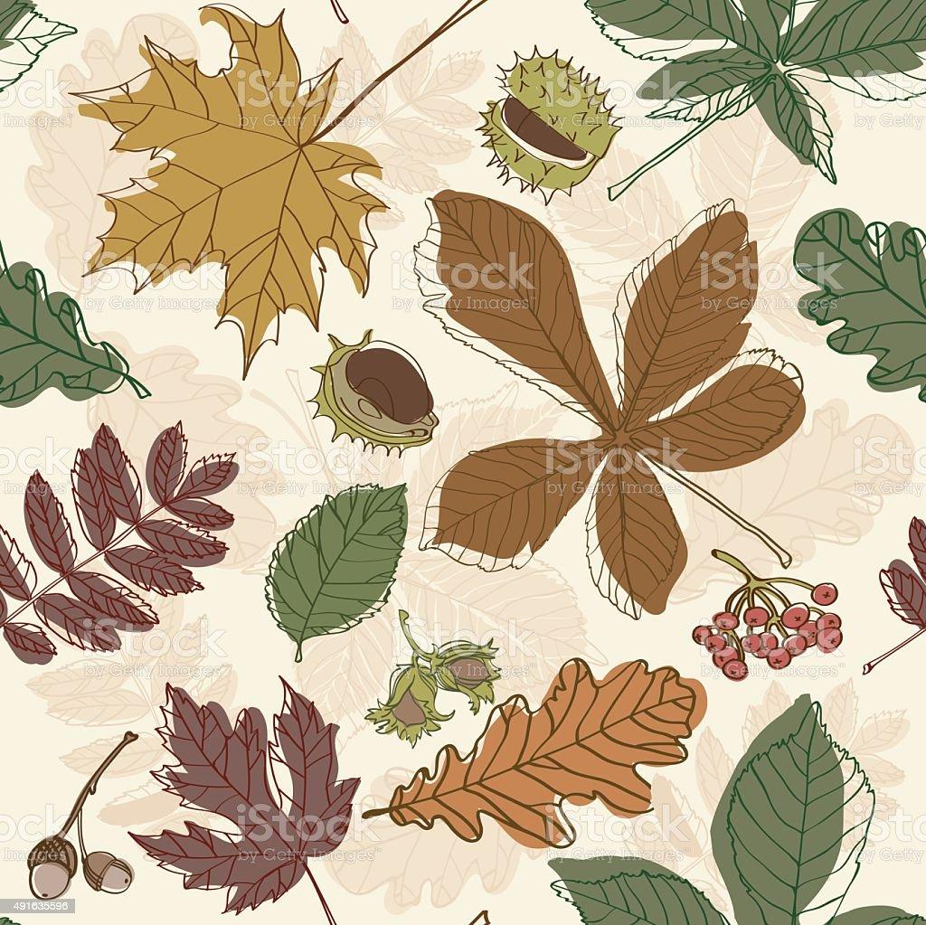 Autumn leaves seamless background brown maple rowan vector art illustration