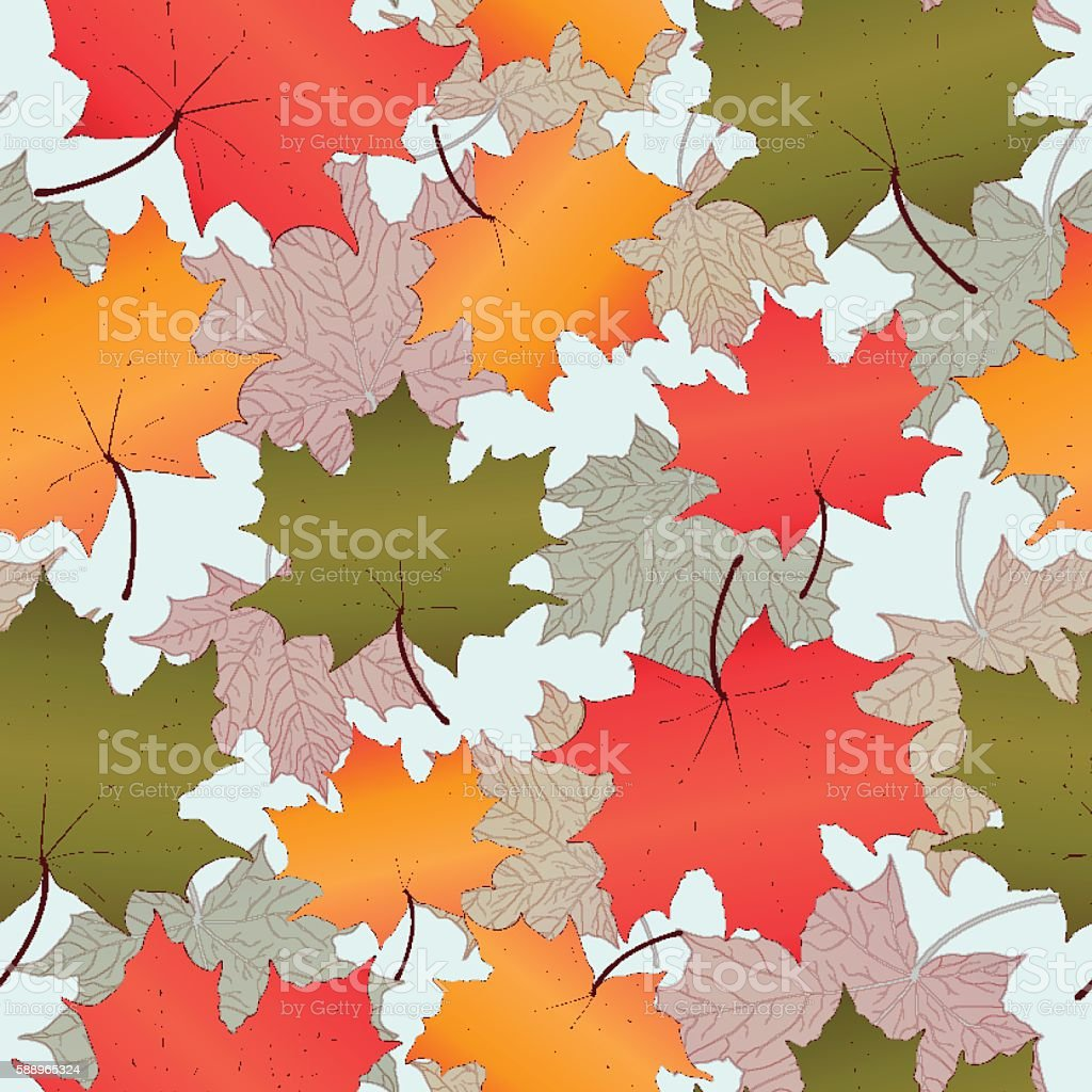 Autumn leaves, seamless pattern, vector background. Red, yellow and green royalty-free stock vector art