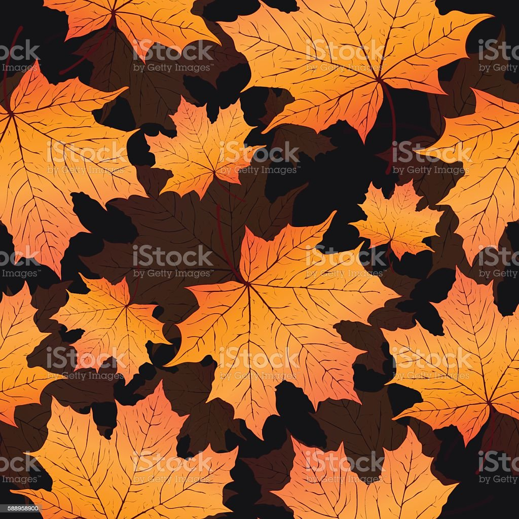 Autumn leaves, seamless pattern, vector background. Yellow orange maple leaf royalty-free stock vector art