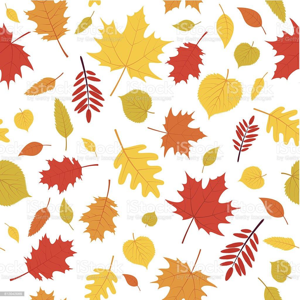 Autumn leaves seamless pattern vector art illustration