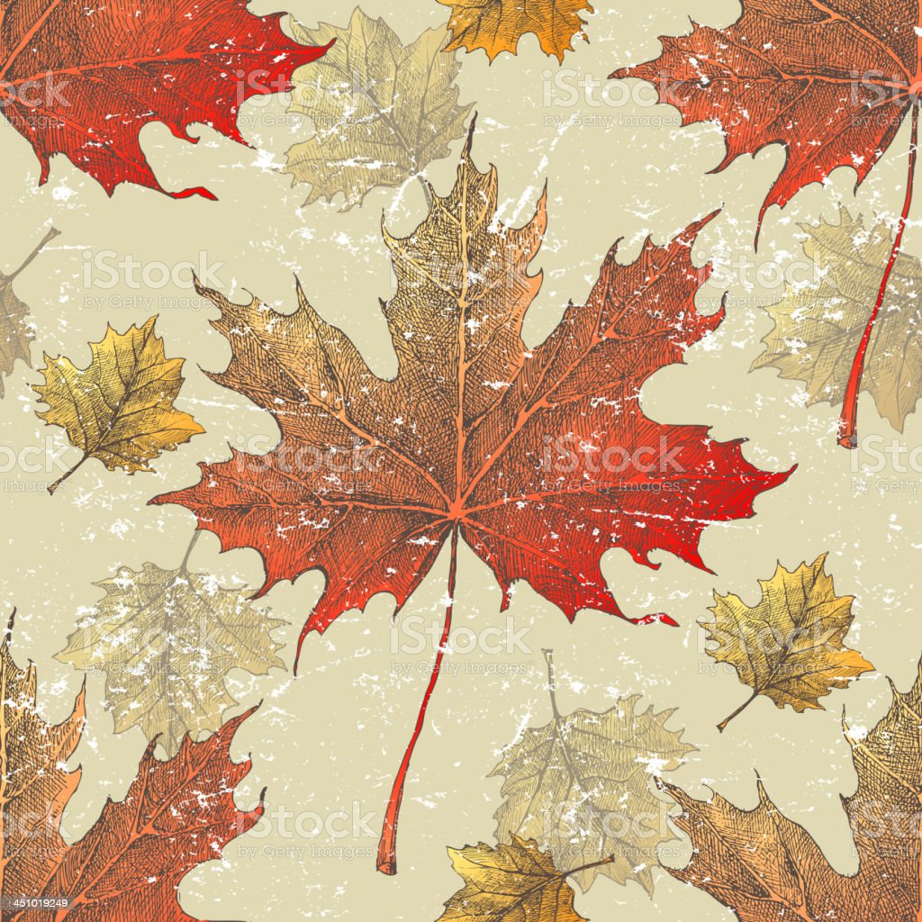 Autumn leaves seamless royalty-free stock vector art