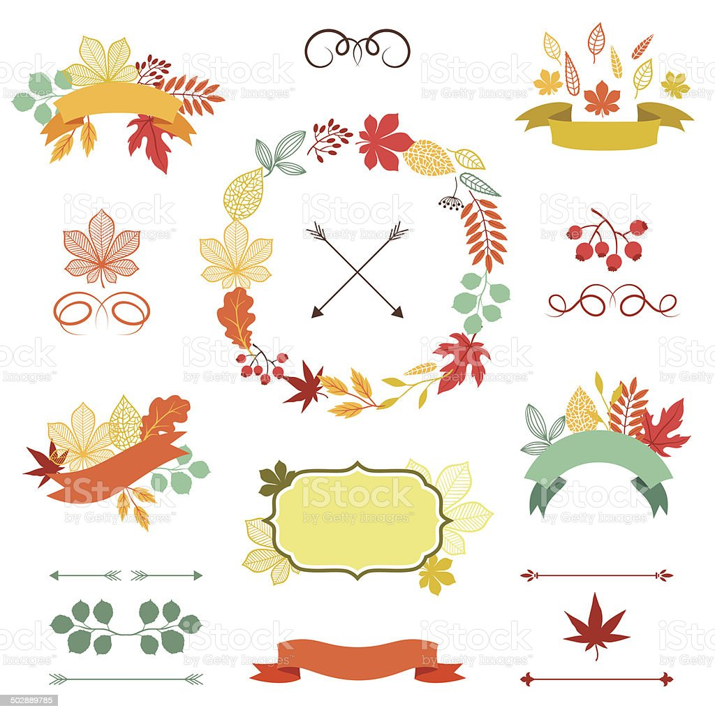 Autumn leaves set of wreath, ribbons and labels. vector art illustration