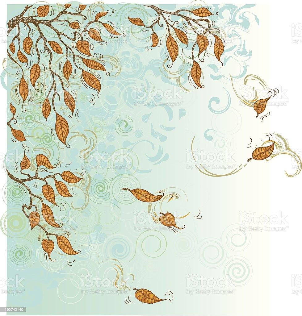 Autumn leaves swirl vector art illustration