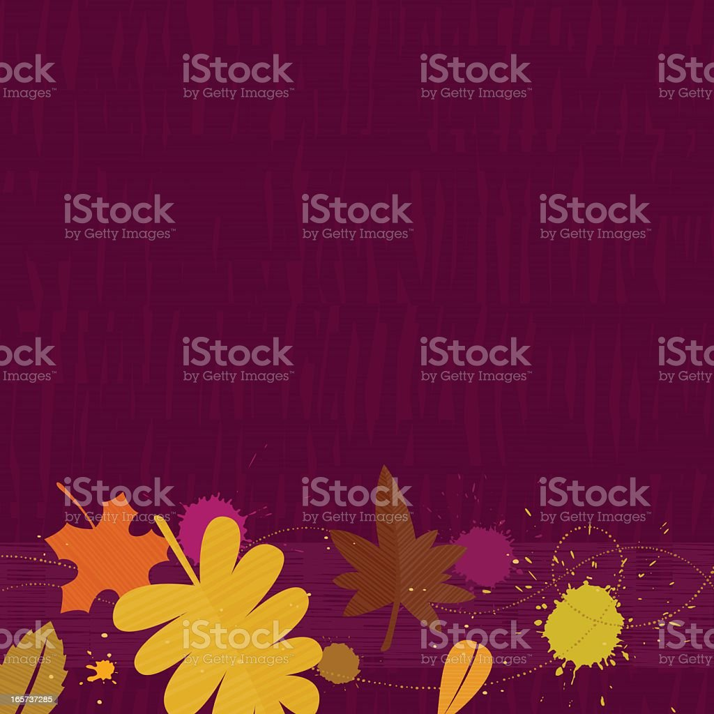 Autumn leaves with paint in front of purple background royalty-free stock vector art