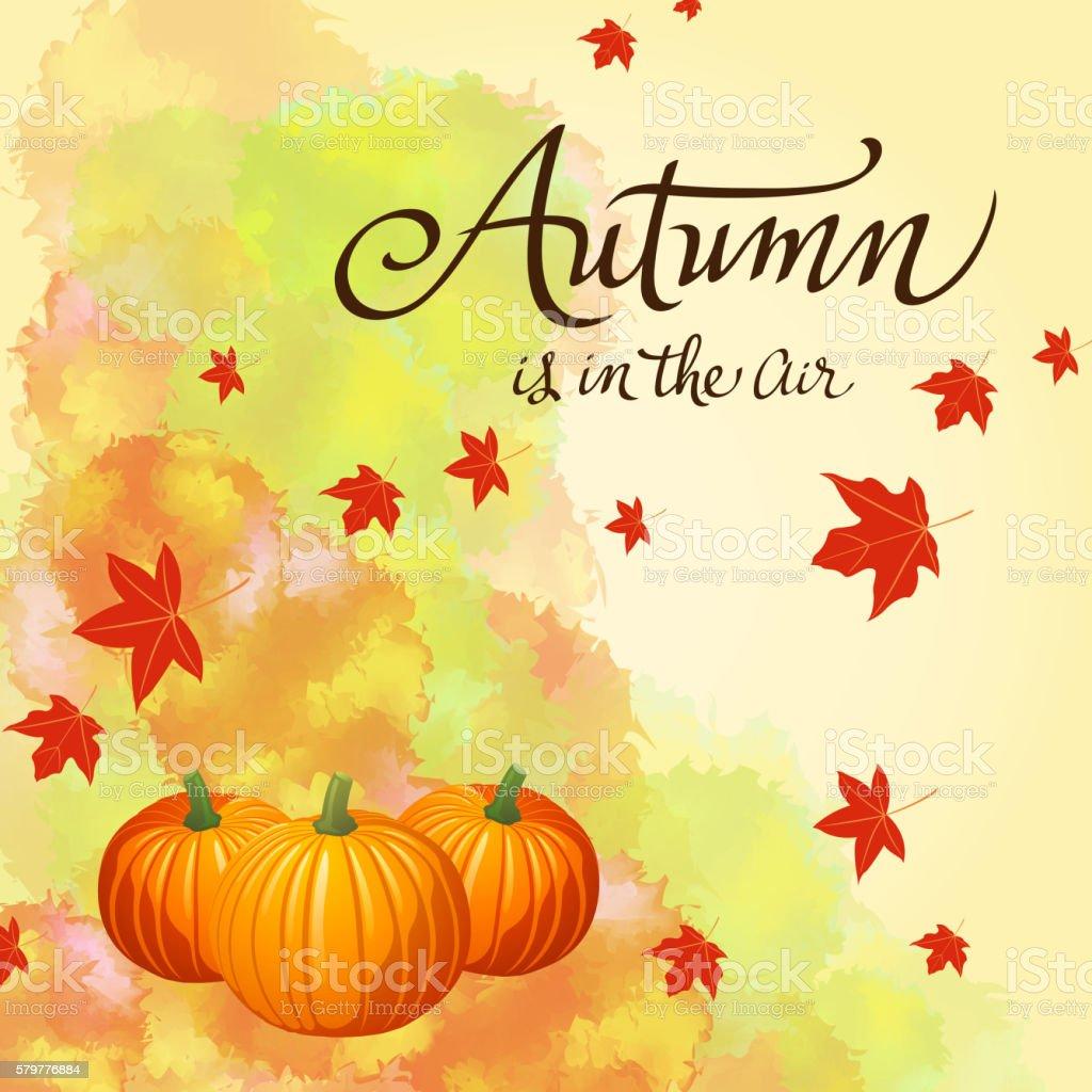 Autumn Leaves with Pumpkins vector art illustration