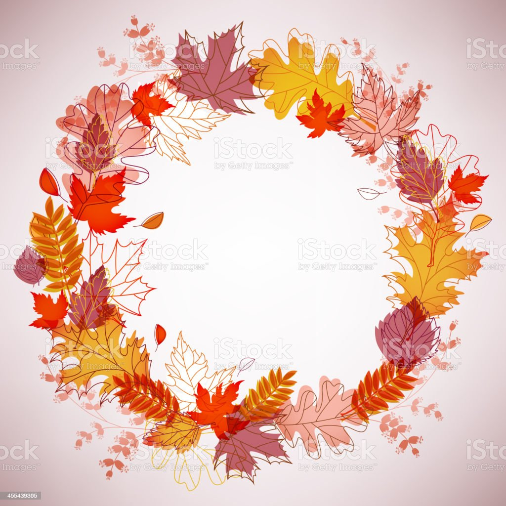 Autumn Leaves Wreath royalty-free stock vector art