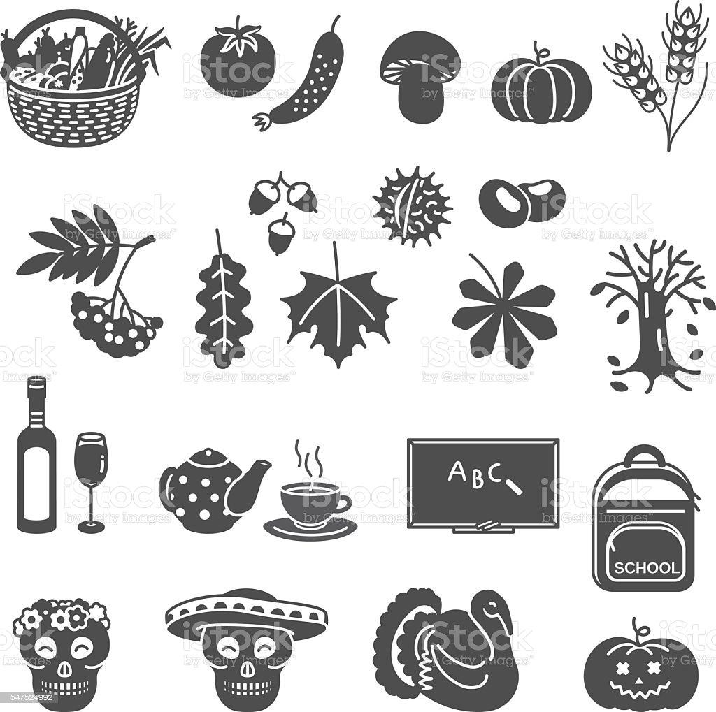 Autumn line icon set. vector art illustration