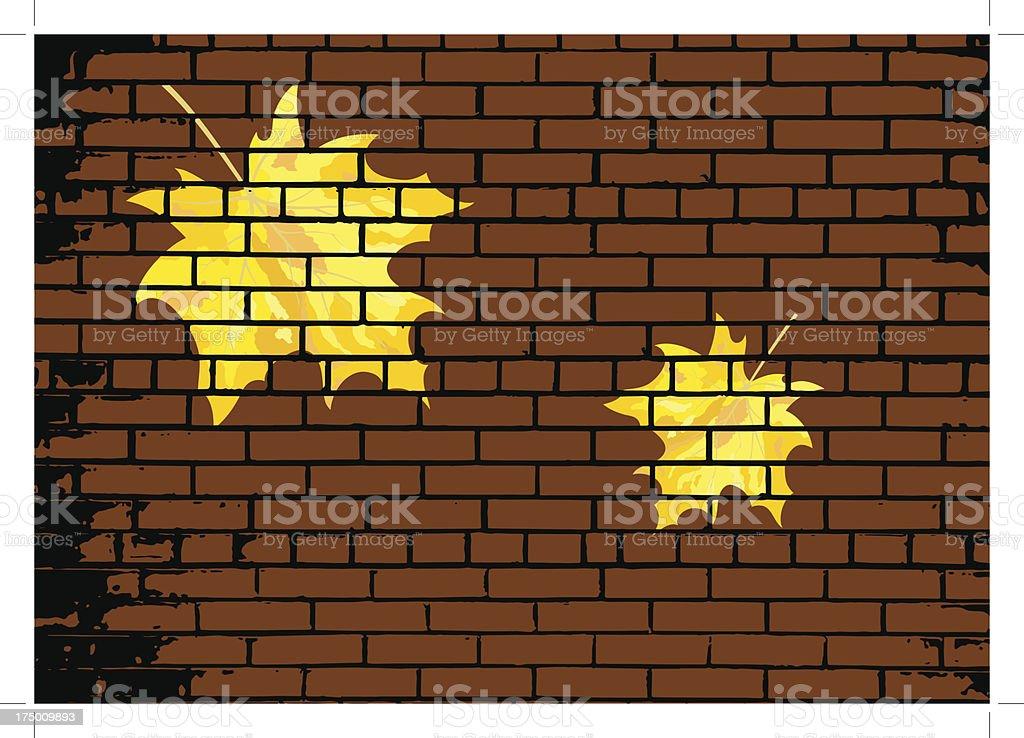 Autumn maple leaves on brick royalty-free stock vector art