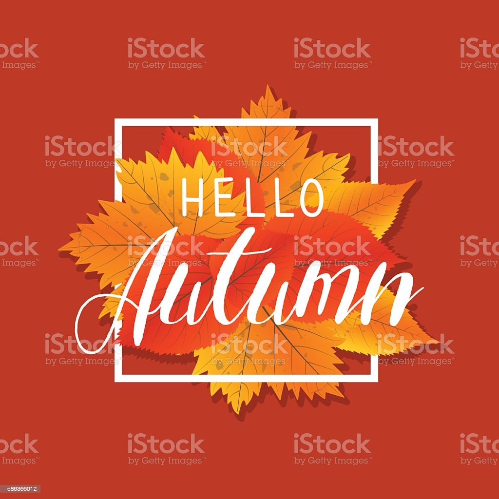 Autumn new season hello. Lettering with hand drawn letters. Label vector art illustration