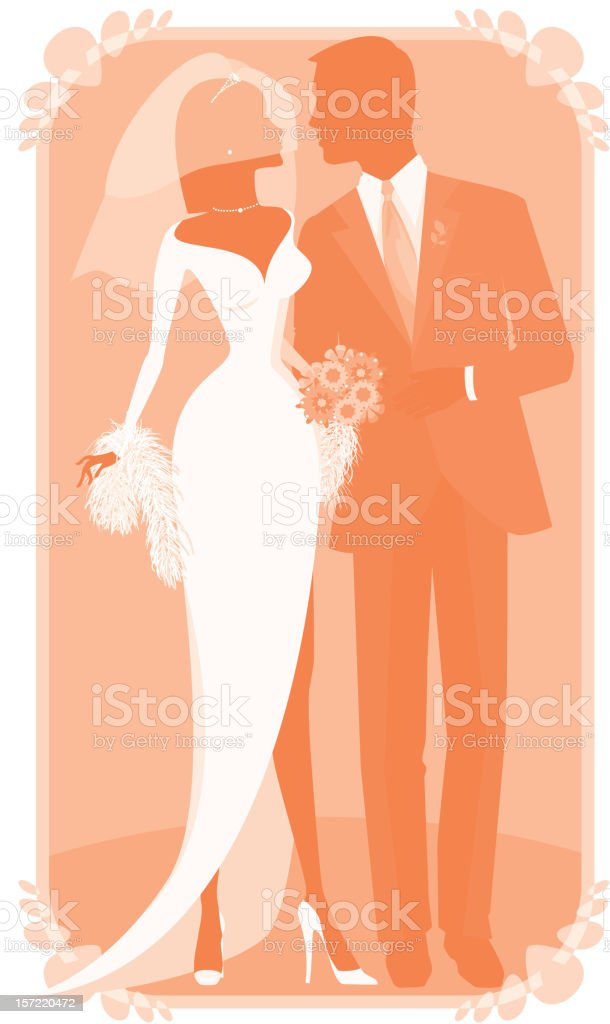 Autumn or Winter Bride and Groom Silhouette vector art illustration