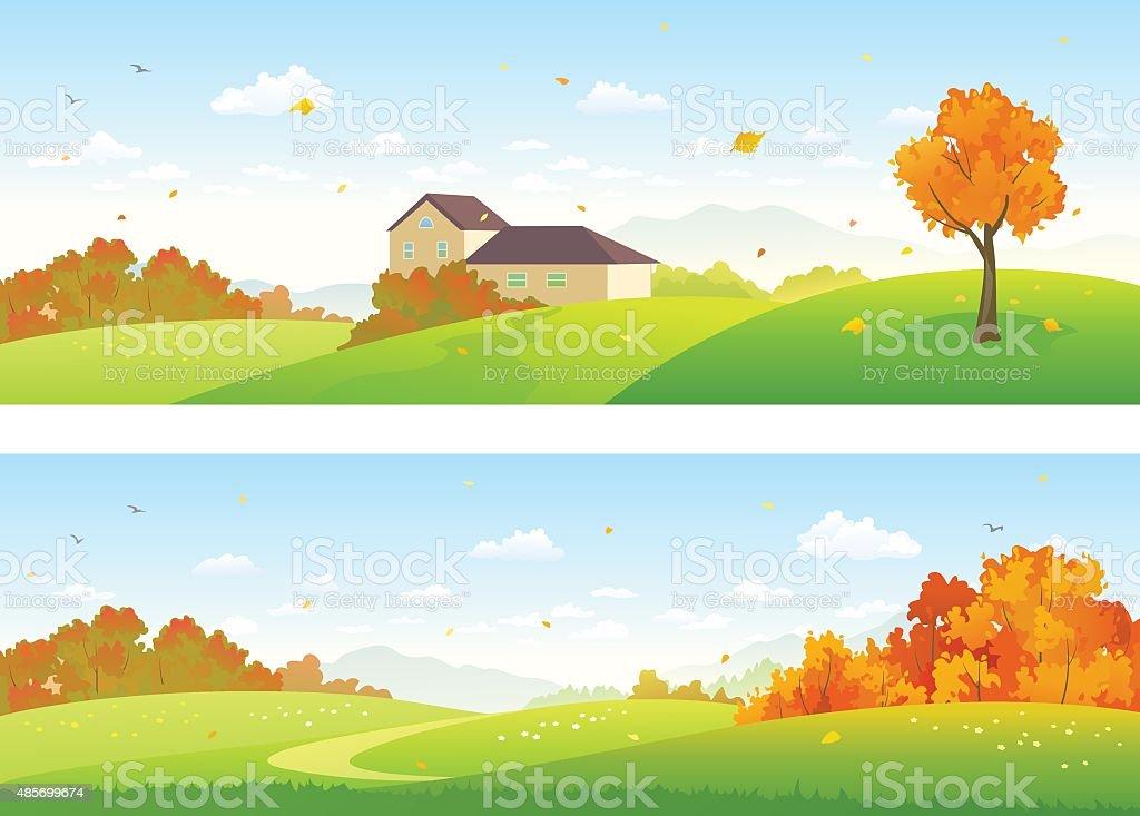 Autumn panoramic landscapes vector art illustration