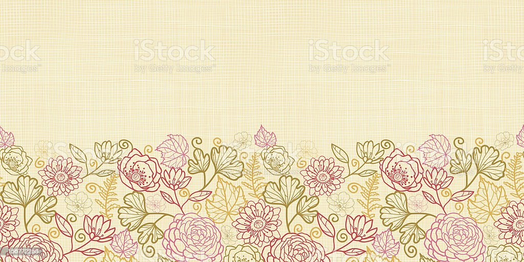 Autumn Plants Fabric Texture Horizontal Seamless Pattern Ornament royalty-free stock vector art