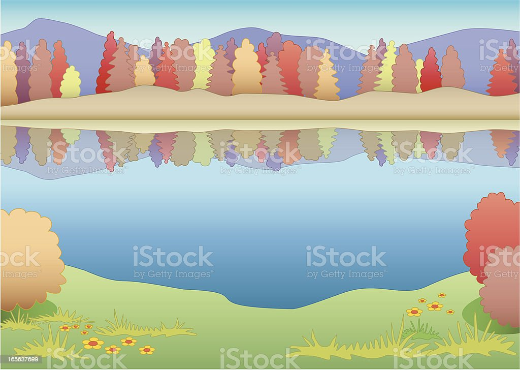 Autumn river royalty-free stock vector art
