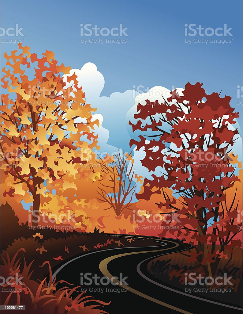 Autumn Road royalty-free stock vector art
