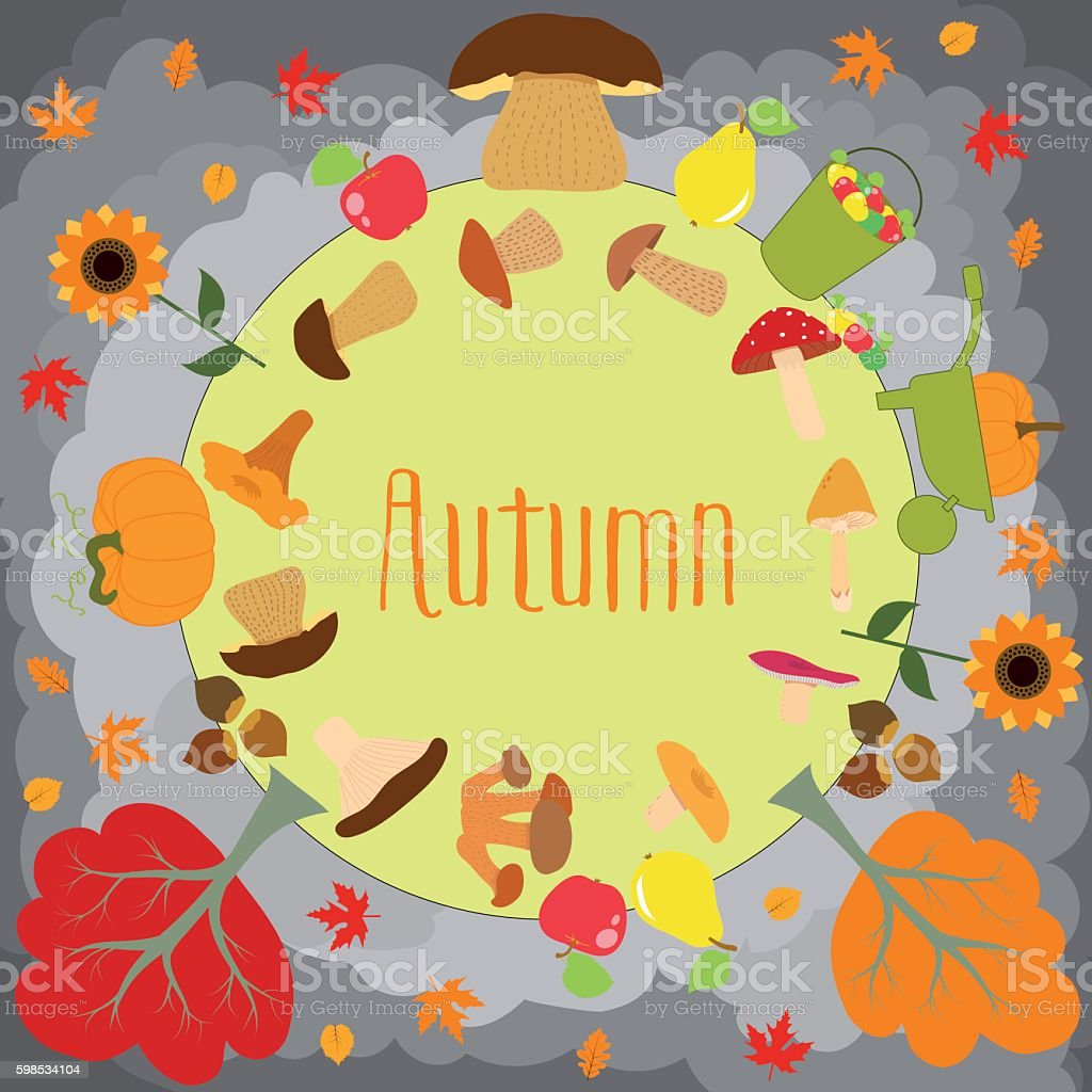 Autumn round with cute leaves, mushrooms, pumpkin and other autumnal vector art illustration