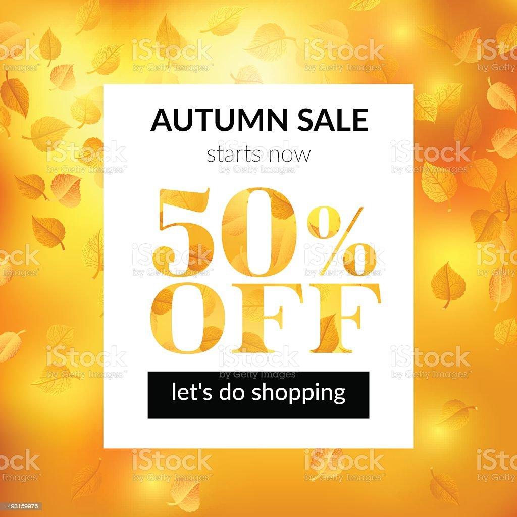Autumn sale background with alder leaves vector art illustration