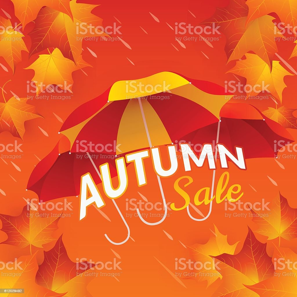 Autumn sale banner with umbrellas and maple leaves vector art illustration