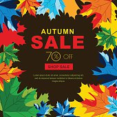 Autumn sale banners with multicolor maple autumn leaves.