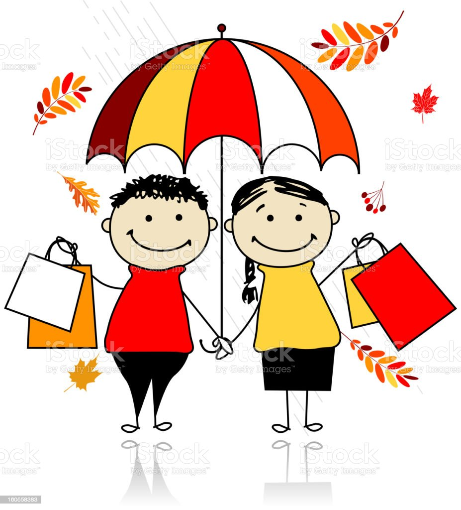 Autumn sale! Family with shopping bags for your design royalty-free stock vector art