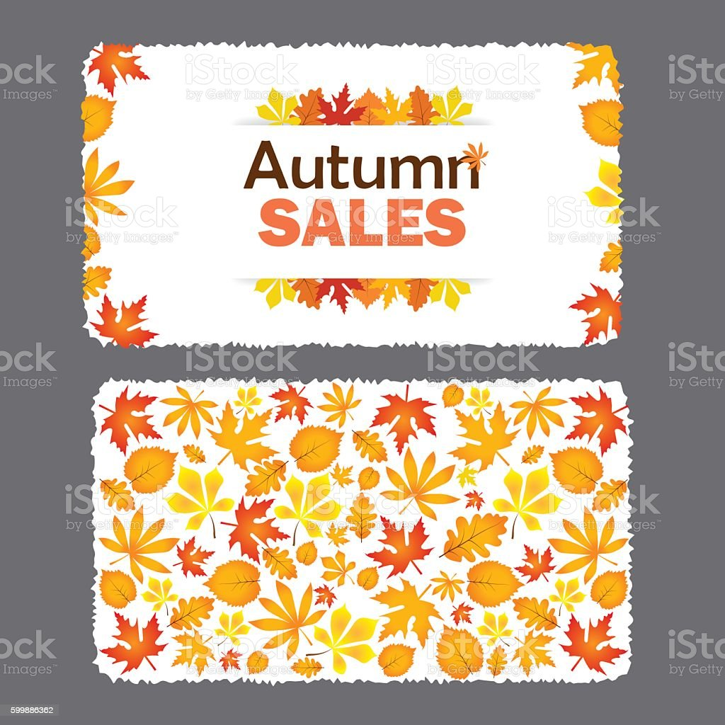 Autumn sale flyer template with lettering. vector art illustration