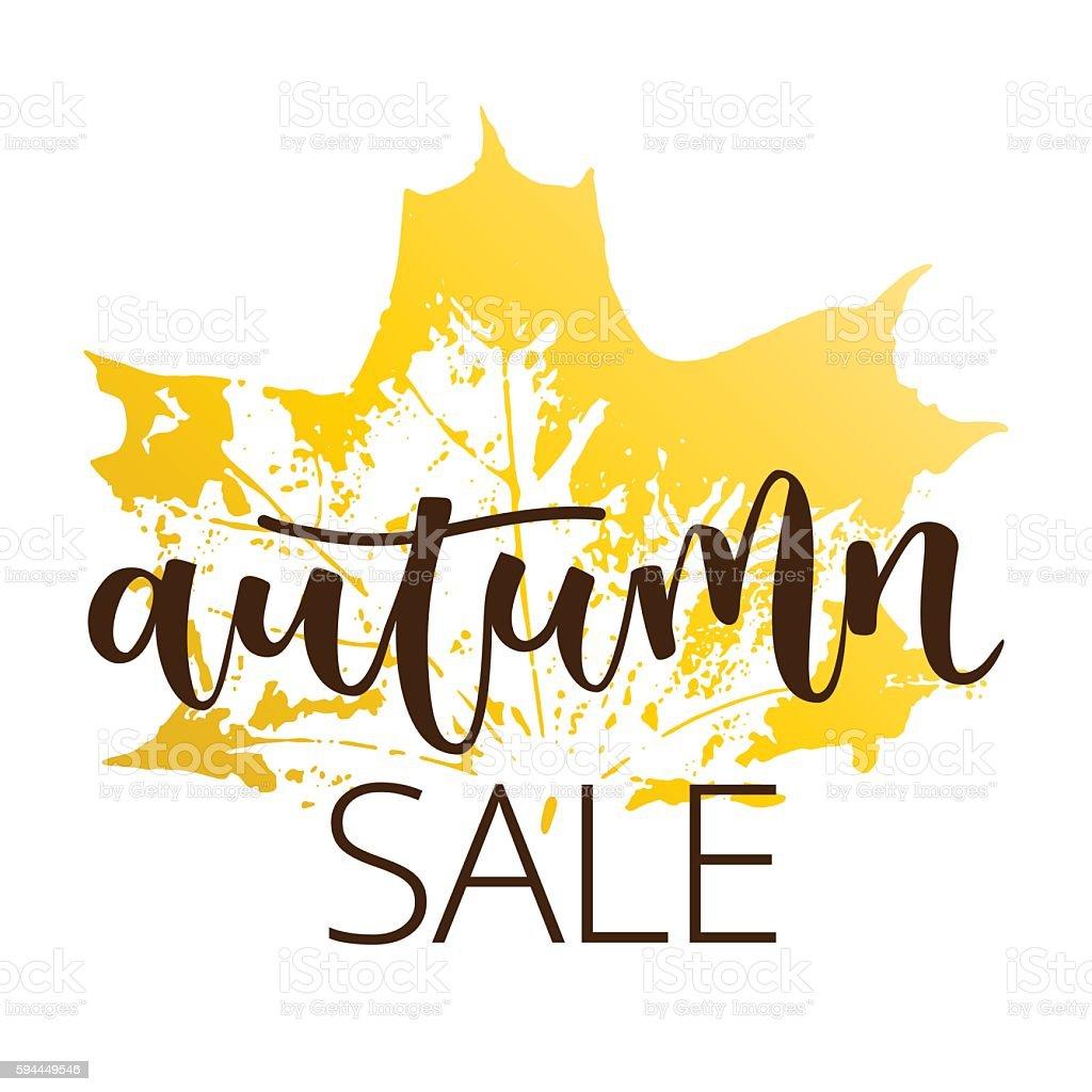 Autumn sale hand written inscription vector art illustration