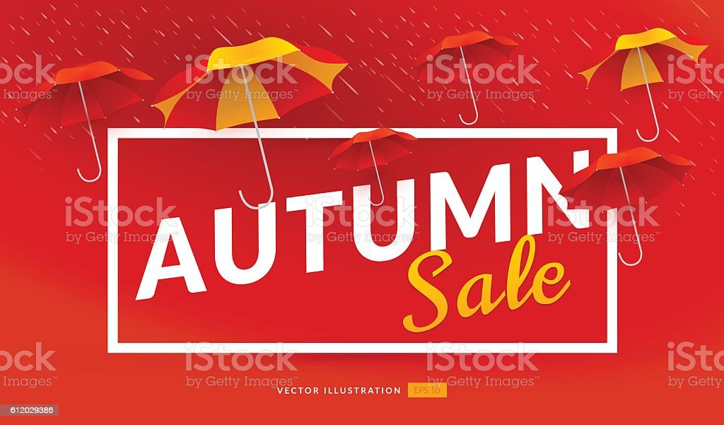 Autumn sale poster template with umbrellas vector art illustration