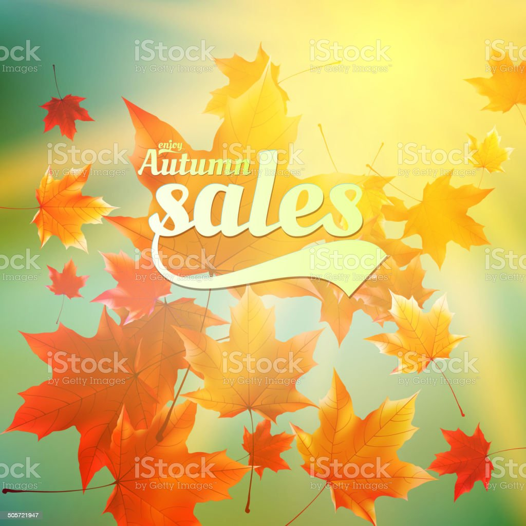 Autumn sale realistic Leaves typography poster. vector art illustration