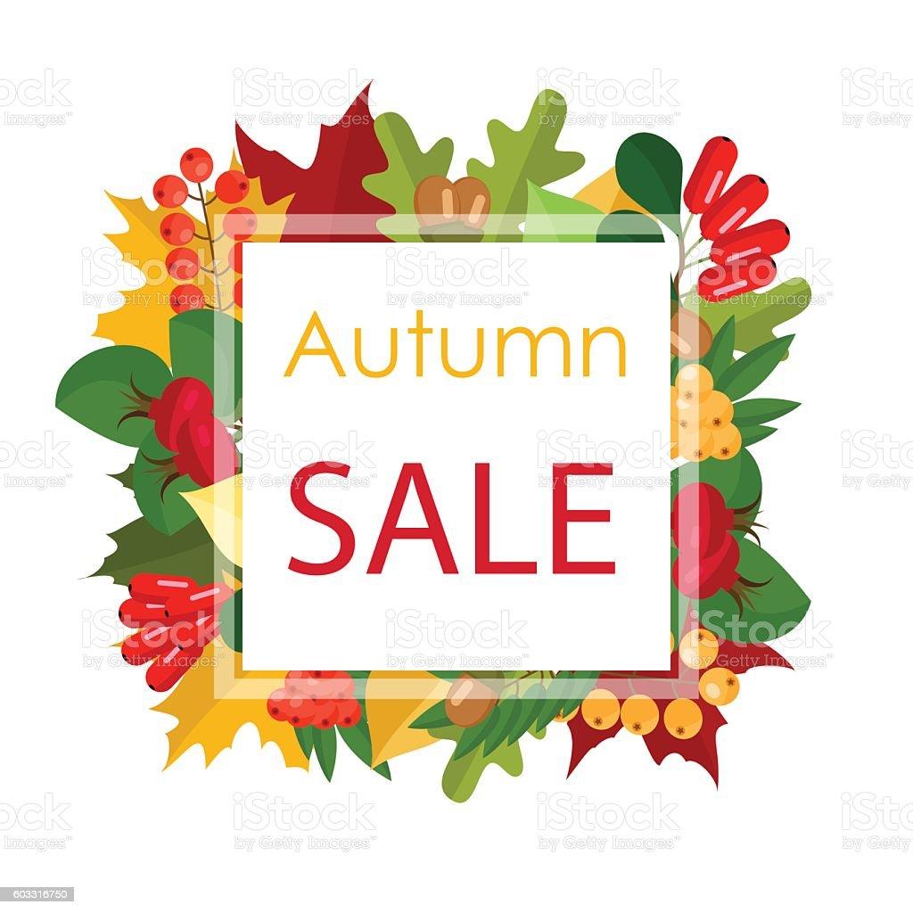 Autumn sale vector illustration . Flat vector art illustration