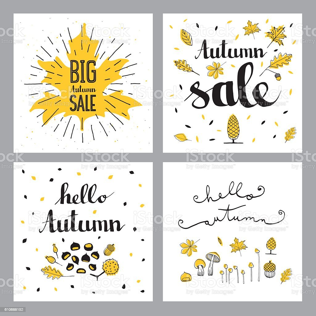 Autumn sales set vector art illustration