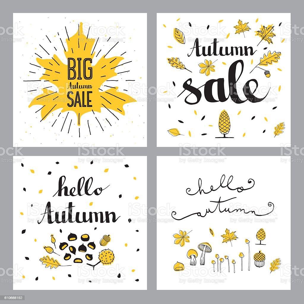Autumn sales set vector art illustration