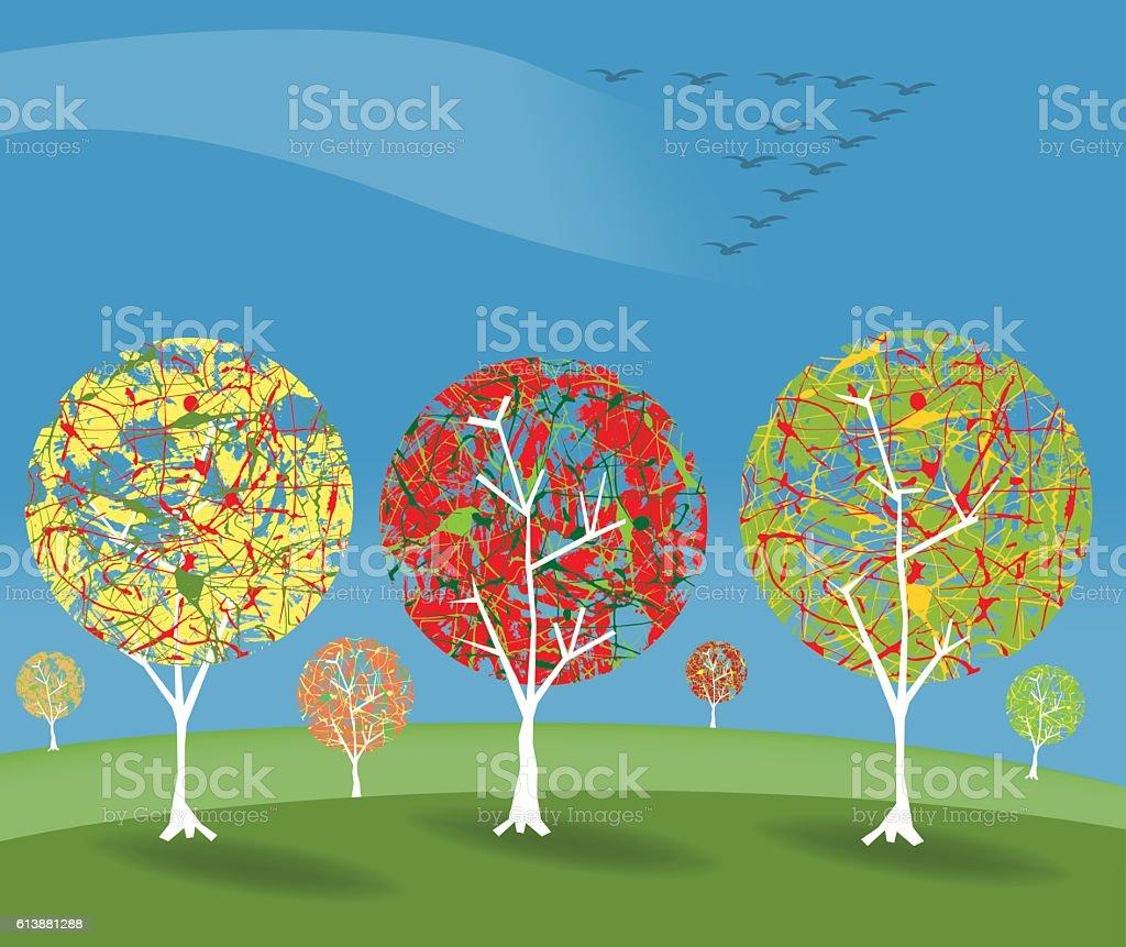 Autumn scene with birds vector art illustration