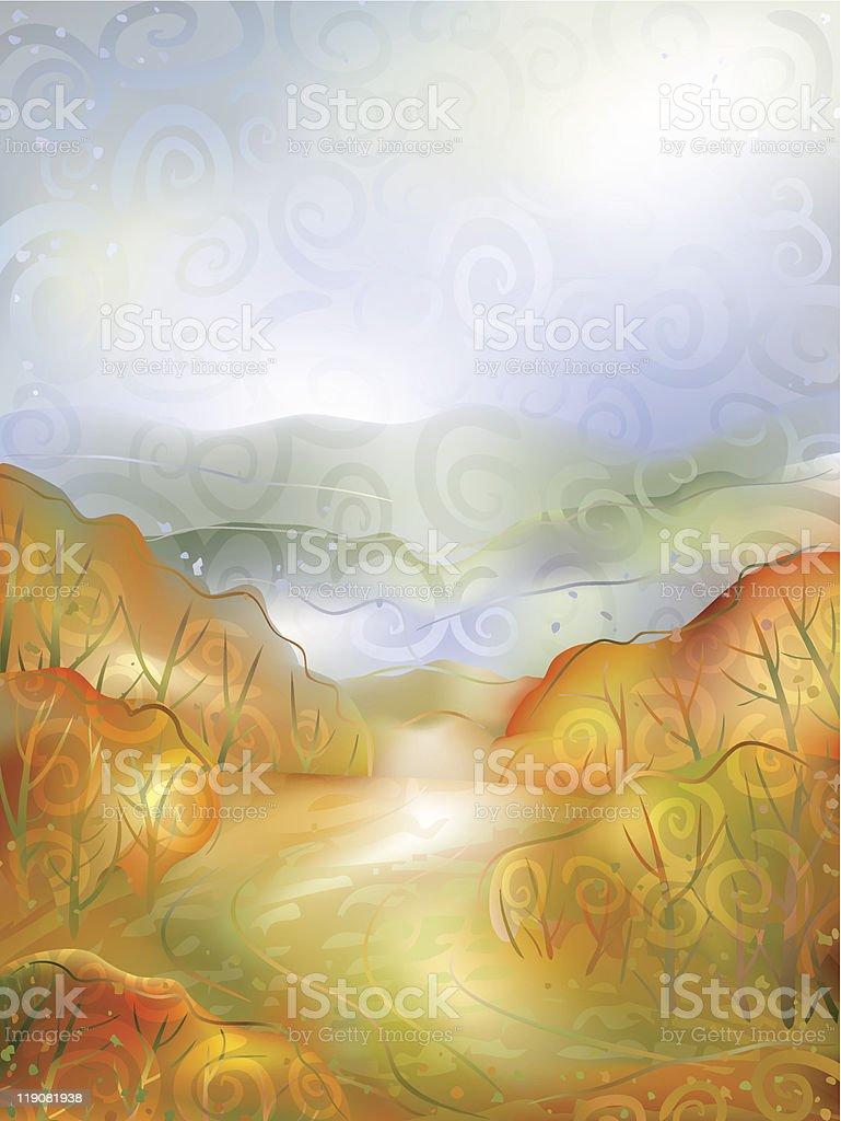 Autumn scenery vector art illustration