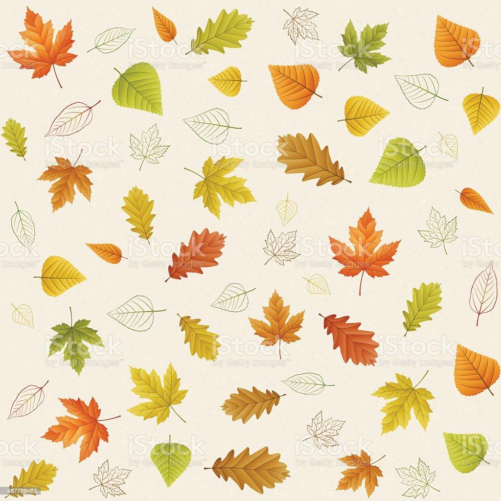 Autumn seamless leaf pattern on paper vector art illustration