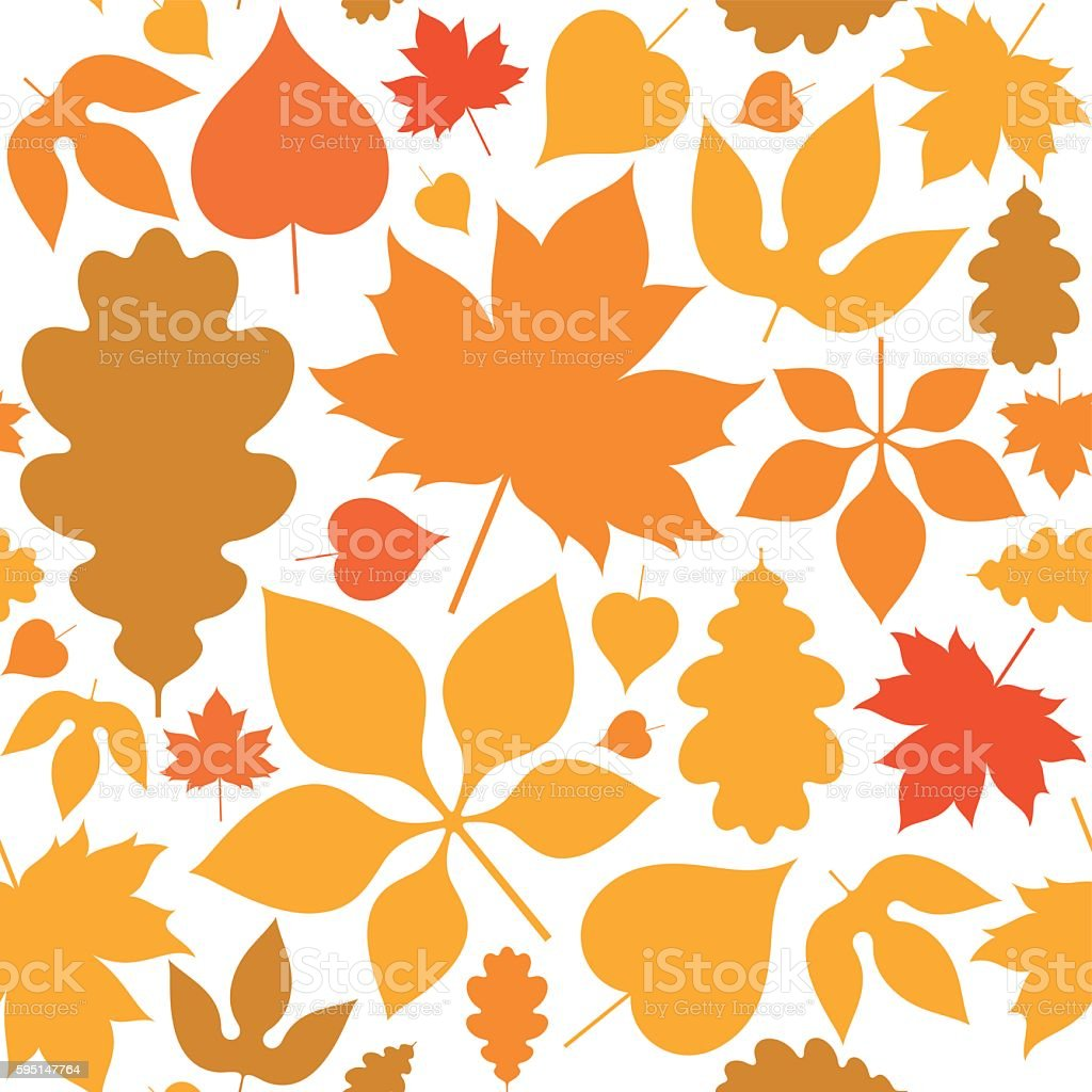 Autumn. Seamless pattern. Abstract leaves on white background vector art illustration