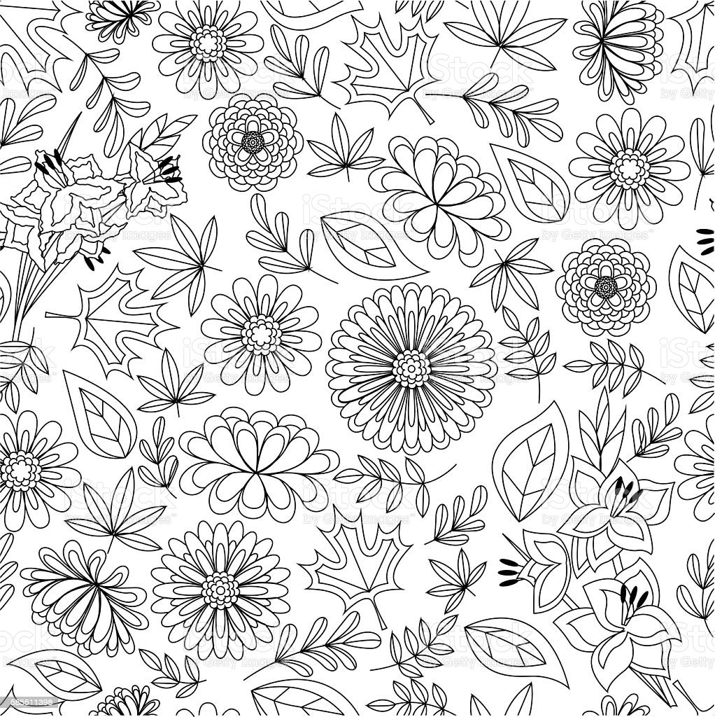 Autumn seamless pattern with flowers and leaves coloring vector art illustration