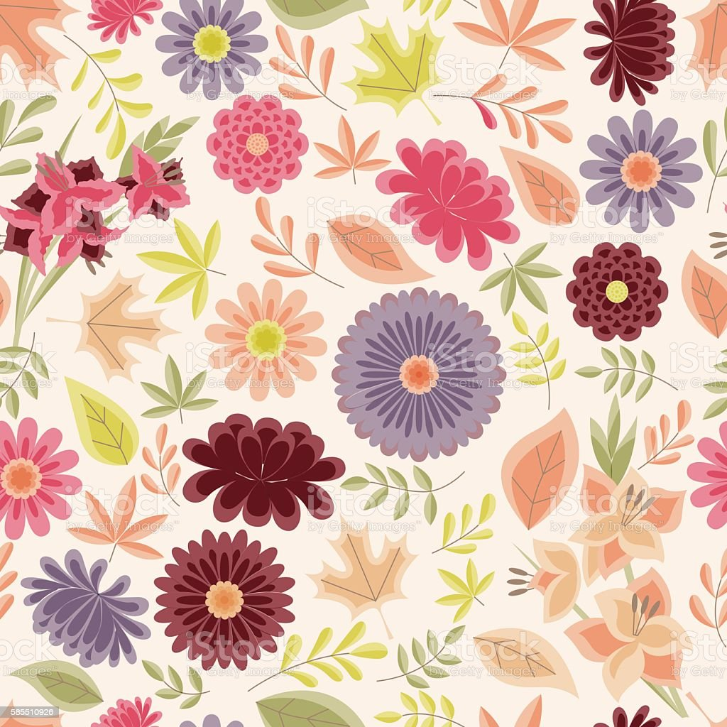 Autumn seamless pattern with flowers and leaves vintage vector art illustration