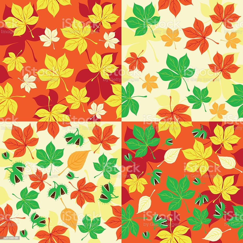 Autumn seamless patterns set of four pieces vector art illustration