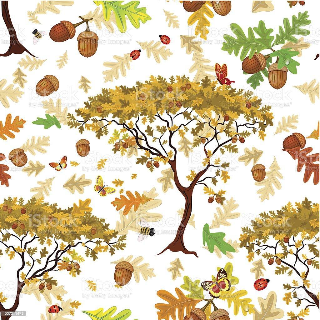 Autumn seamless texture vector art illustration