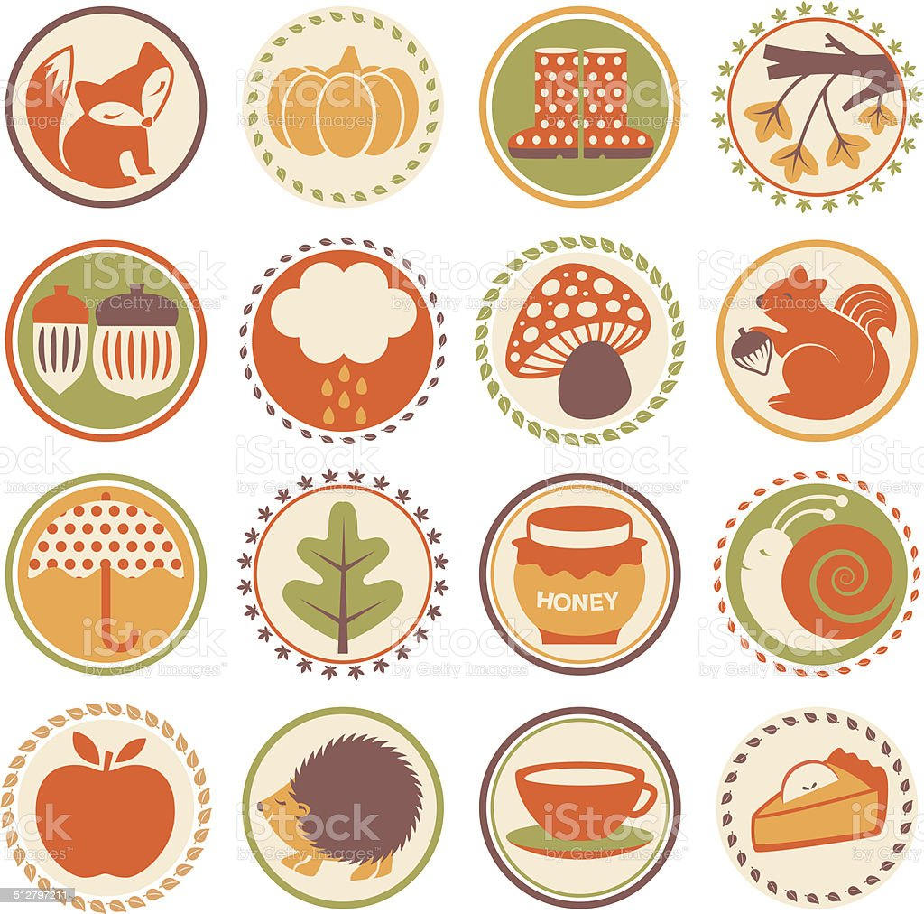 Autumn Season - Circle Icons vector art illustration