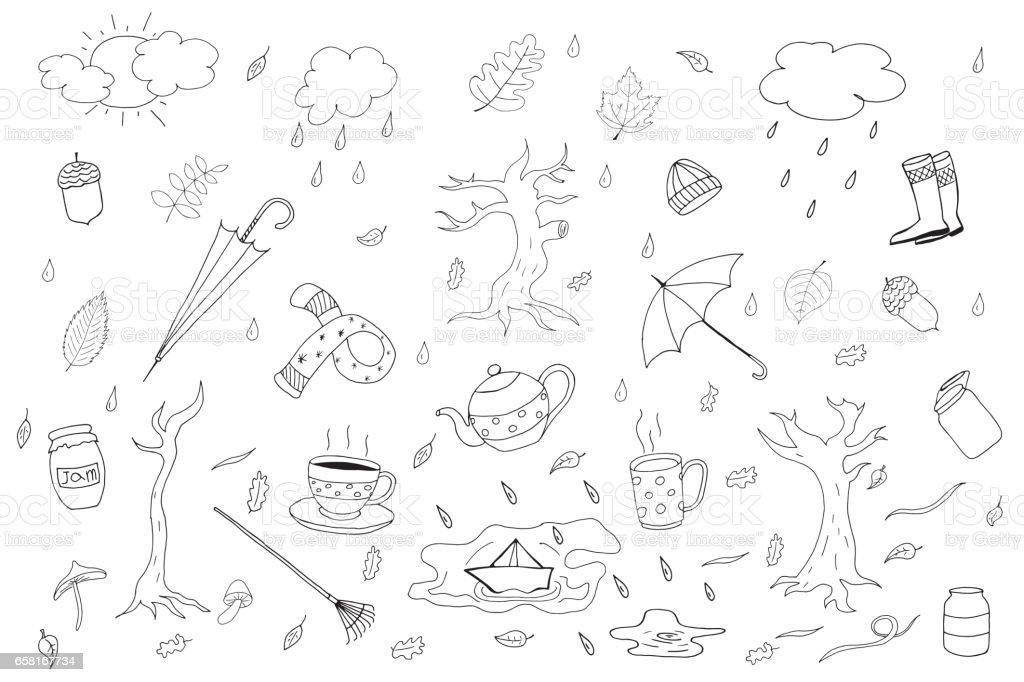 Autumn season collection in doodle style. vector art illustration