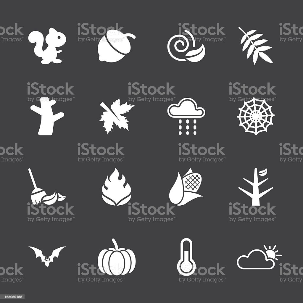 Autumn Season Icons - White Series | EPS10 royalty-free stock vector art