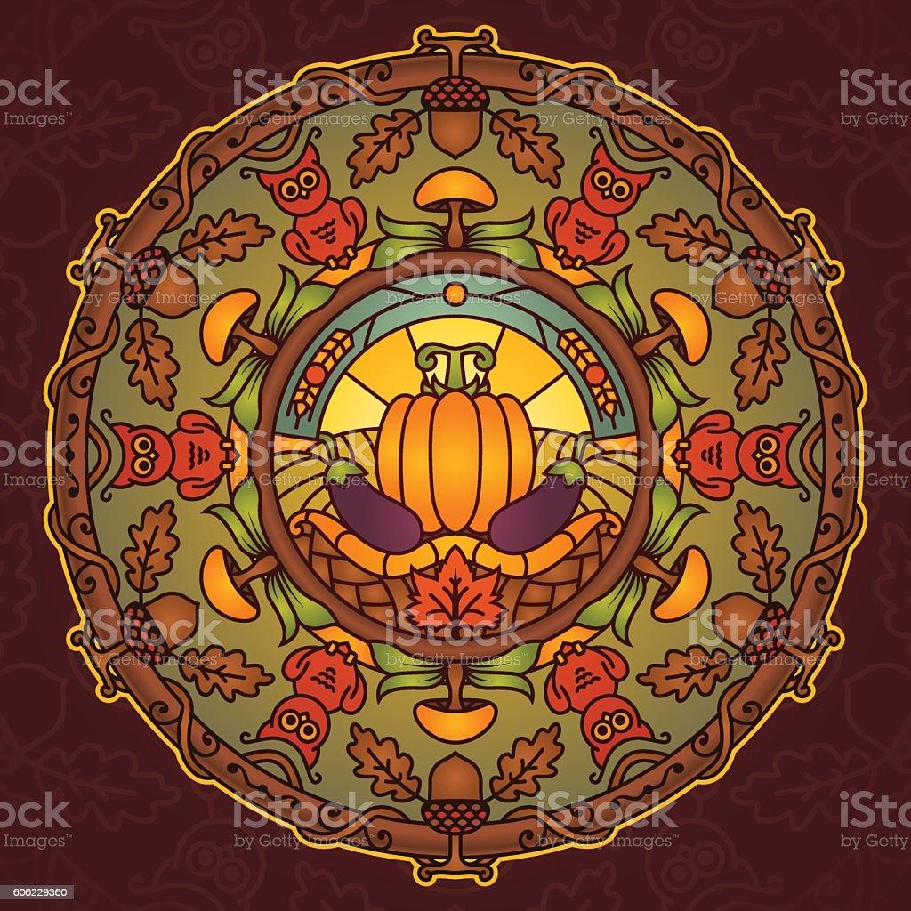 Autumn Season Mandala vector art illustration