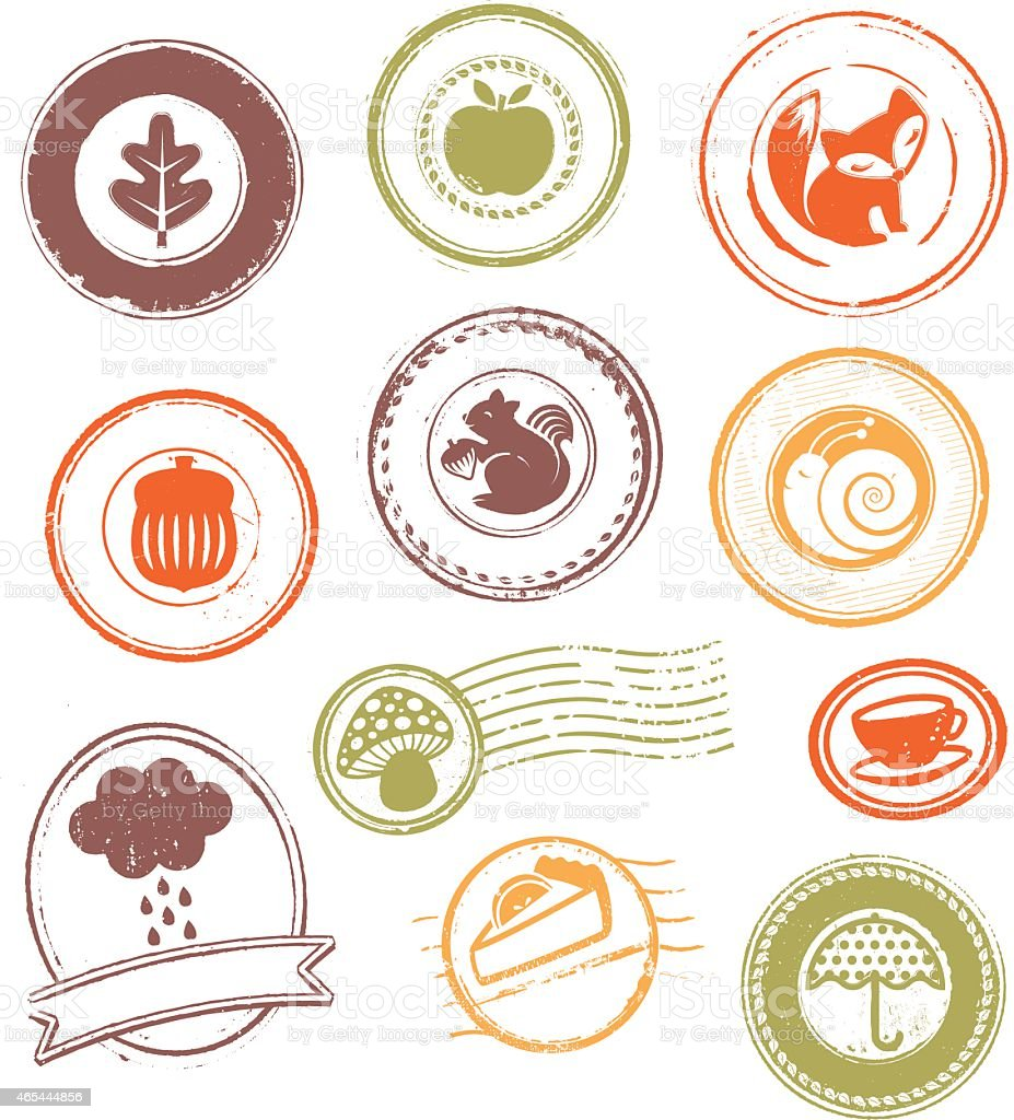 Autumn Season - Rubber Stamps vector art illustration
